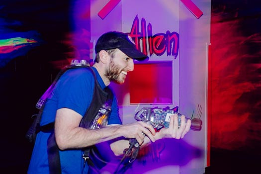 Man playing laser tag.