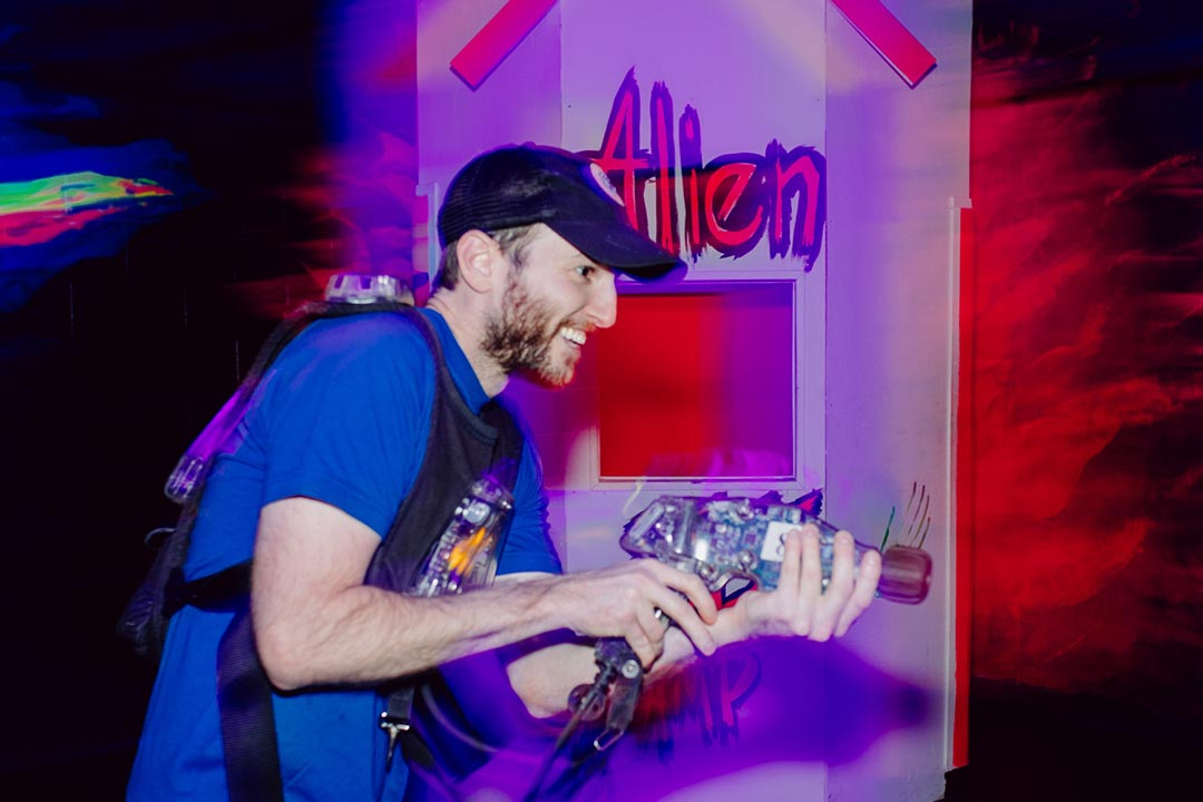 Man playing laser tag