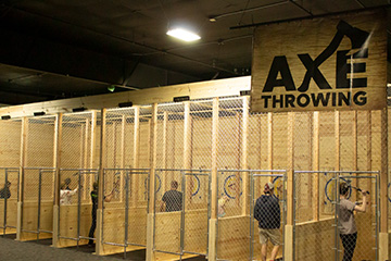 All eight axe throwing lanes at Action City