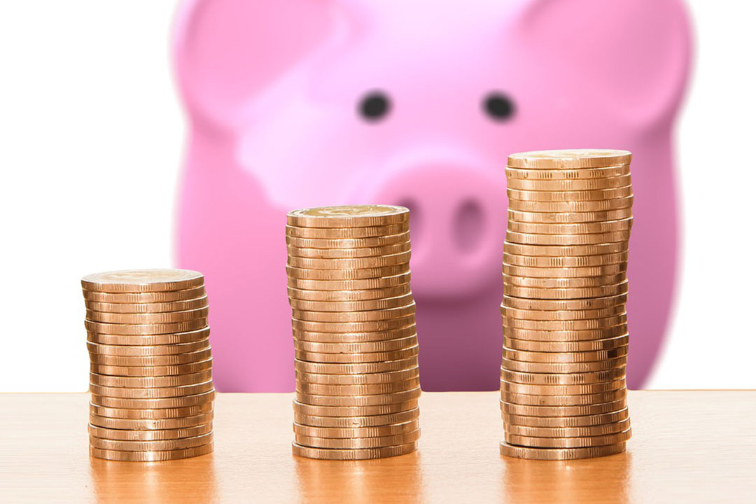Piggie bank looking at stacks of coins