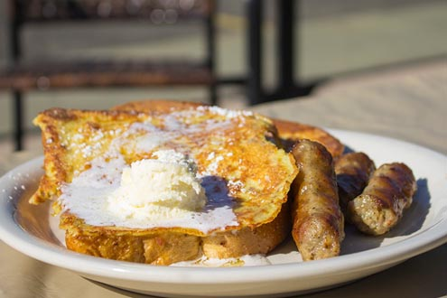 French toast with sausages.