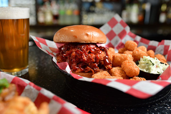 Pulled pork sandwich with cheese curds