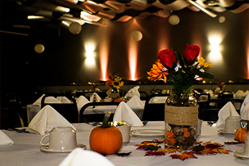 Fall decor on table in Skybox Banquet hall