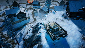 Tank in snowy village
